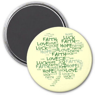 Four Leaf Clover Meaning: Hope, Faith, Love, Luck 3 Inch Round Magnet