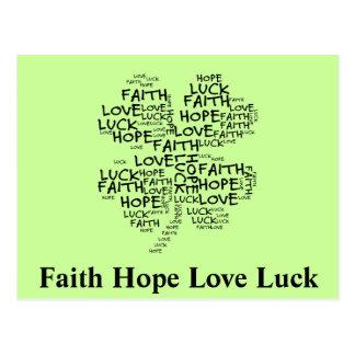Four Leaf Clover Meaning: Hope, Faith, Love, Luck Postcard