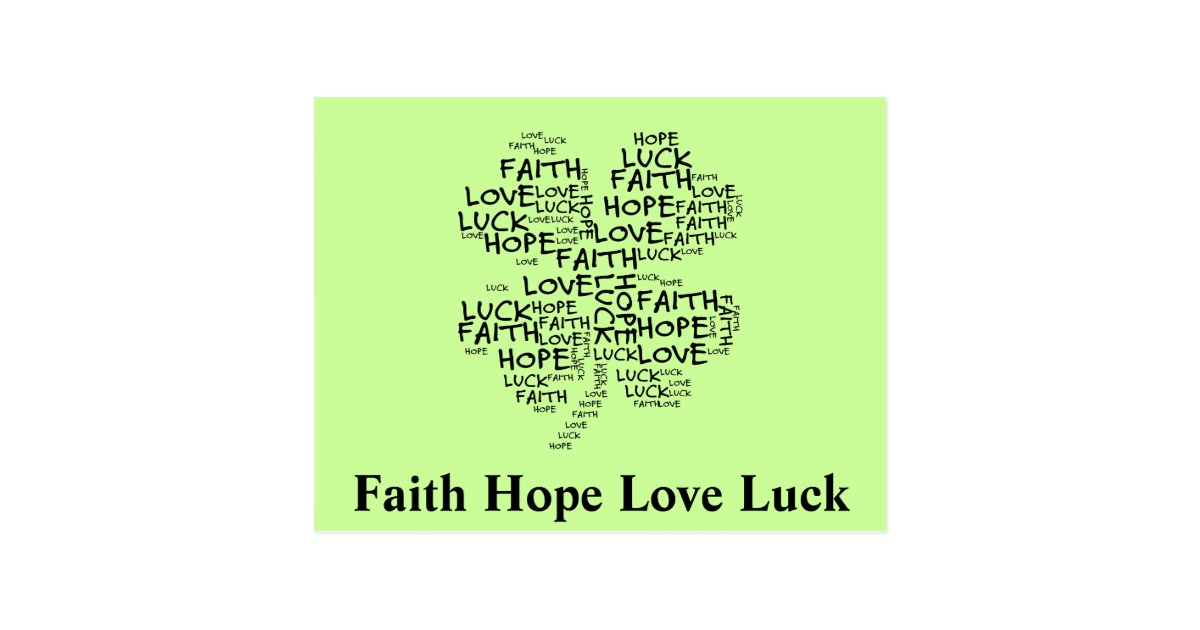 Four Leaf Clover Meaning: Hope, Faith, Love, Luck Postcard ...