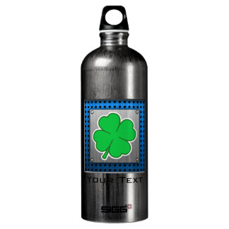 Four Leaf Clover; metal-look Aluminum Water Bottle