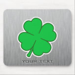 """Four Leaf Clover; metal-look Mouse Pad<br><div class=""""desc"""">You will love this brushed aluminum metal look four leaf clover &quot;4 leaf&quot; lucky irish luck shamrock design. Great for gifts! Available on tee shirts, smart phone cases, mousepads, keychains, posters, cards, electronic covers, computer laptop / notebook sleeves, caps, mugs, and more! Visit our site for a custom gift case...</div>"""