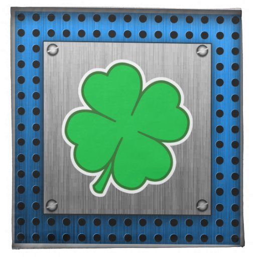 Four Leaf Clover; metal-look Printed Napkin