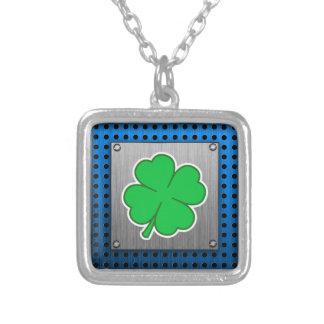 Four Leaf Clover; metal-look Square Pendant Necklace