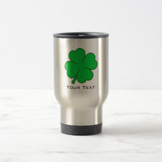 Four Leaf Clover; metal-look Travel Mug