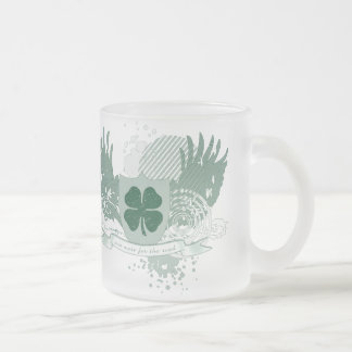 four leaf clover. one more for the road. frosted glass coffee mug
