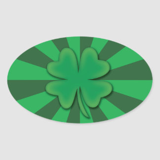 Four leaf clover Oval stickers