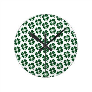 Four Leaf Clover Pattern Round Clock