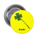 Four leaf clover pinback buttons