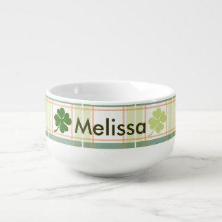Four Leaf Clover Plaid Soup Mug