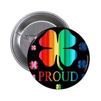 Four leaf clover Rainbow RoyGeeBiv - LGBT Button