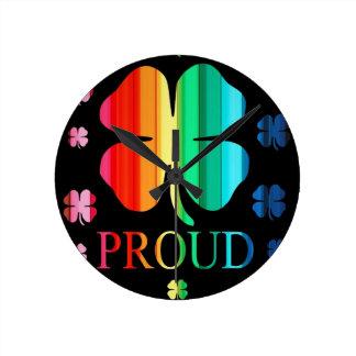 Four leaf clover Rainbow RoyGeeBiv - LGBT Wall Clock