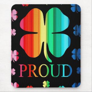Four leaf clover Rainbow RoyGeeBiv - LGBT Mouse Pad