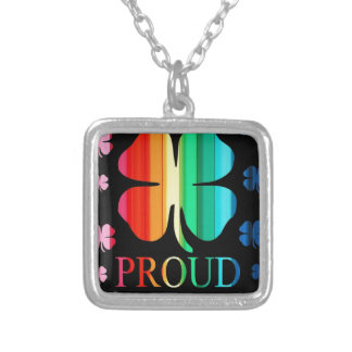 Four leaf clover Rainbow RoyGeeBiv - LGBT Silver Plated Necklace