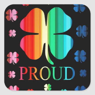 Four leaf clover Rainbow RoyGeeBiv - LGBT Square Sticker