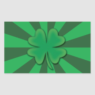 Four leaf clover rectangle stickers