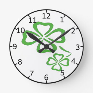 Four Leaf Clover Round Clock