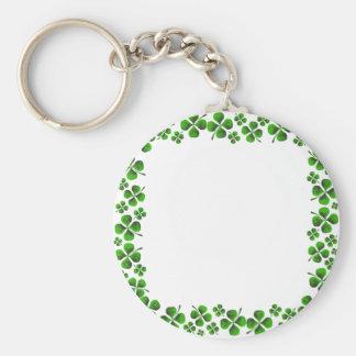 Four Leaf Clover Shamrock Background Basic Round Button Keychain