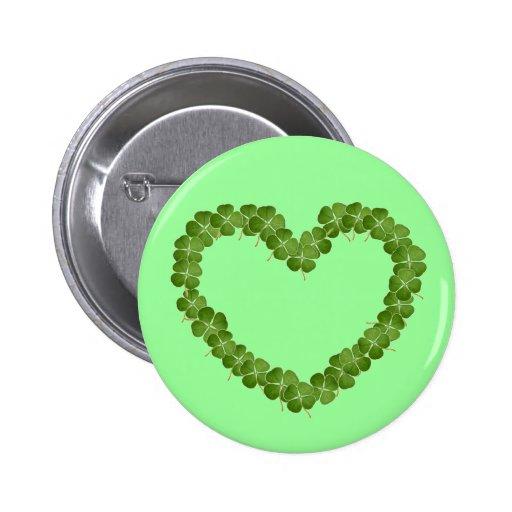 Four Leaf Clover Shamrock Heart Button