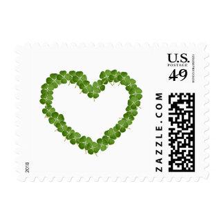 Four Leaf Clover Shamrock Heart Postage