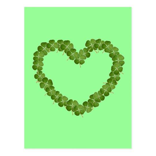 Four Leaf Clover Shamrock Heart Postcard