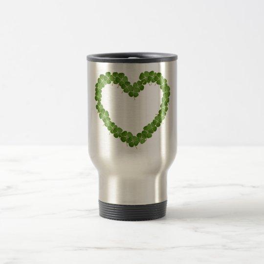 Four Leaf Clover Shamrock Heart Travel Mug