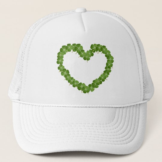 Four Leaf Clover Shamrock Heart Trucker Hat