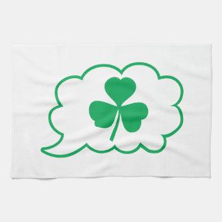 Four leaf clover Shamrock in a speech bubble Hand Towel