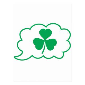 Four leaf clover Shamrock in a speech bubble Postcard