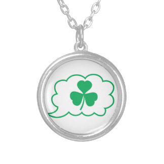 Four leaf clover Shamrock in a speech bubble Silver Plated Necklace