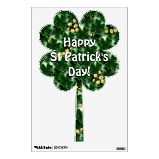 Four Leaf Clover Shamrock Shape with Gold Coins Wall Decal
