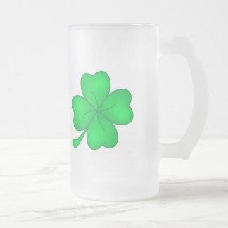 Four-leaf clover sheet frosted glass beer mug