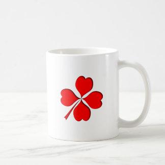 four-leaf clover sheet heart coffee mug