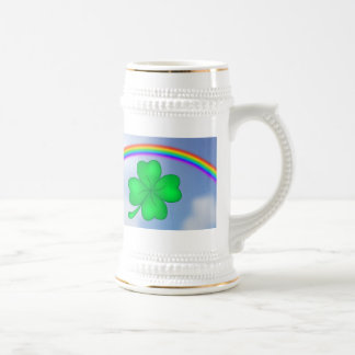 Four-leaf clover sheet with rainbow beer stein
