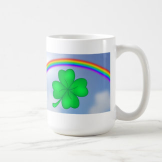 Four-leaf clover sheet with rainbow coffee mug