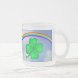 Four-leaf clover sheet with rainbow frosted glass coffee mug