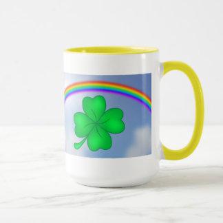 Four-leaf clover sheet with rainbow mug