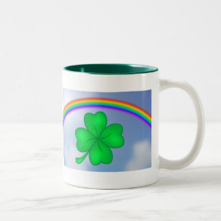 Four-leaf clover sheet with rainbow Two-Tone coffee mug