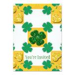 Four Leaf Clover Sparkle Hearts 5x7 Paper Invitation Card