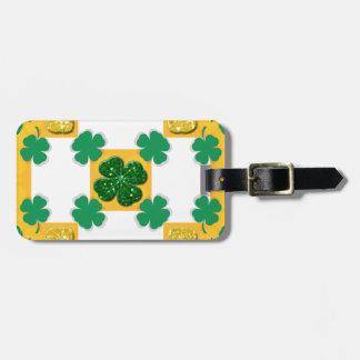 Four Leaf Clover Sparkle Hearts Luggage Tag