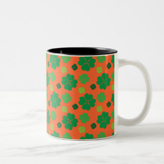 Four Leaf Clover St Paddys Day Green Two-Tone Coffee Mug