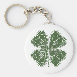 Four Leaf Clover St. Patrick's Day Basic Round Button Keychain
