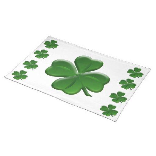four leaf clover st patrick 39 s day button cloth placemat zazzle