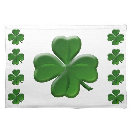 four leaf clover st patrick 39 s day button placemats zazzle