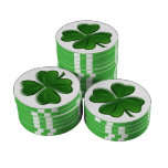 Four Leaf Clover - St Patrick's Day Button Poker Chips