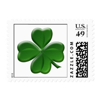 Four Leaf Clover - St Patrick's Day Button Postage Stamps