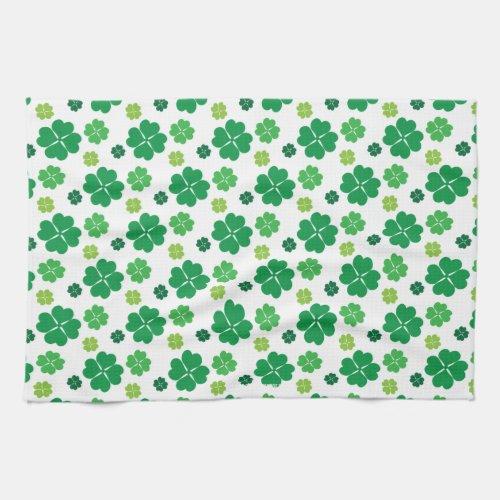 Four Leaf Clover St Patricks Day Kitchen Towel