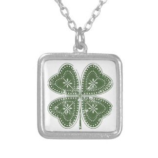 Four Leaf Clover St. Patrick's Day Silver Plated Necklace
