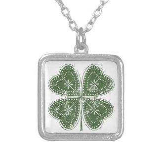 Four Leaf Clover St. Patrick's Day Square Pendant Necklace