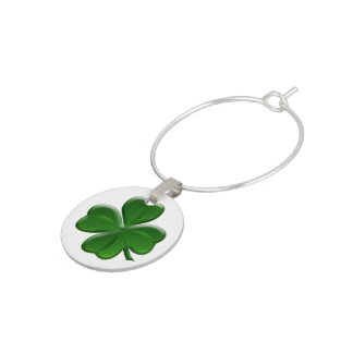 Four Leaf Clover - St Patrick's Day Symbol Wine Glass Charms