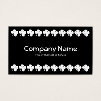 Four Leaf Clover - White on Black Business Card